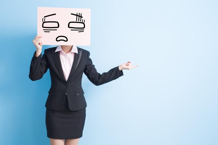 business woman take billboard